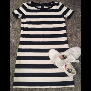 J.Crew Navy and White Stripe Tee Shirt Dress XXS